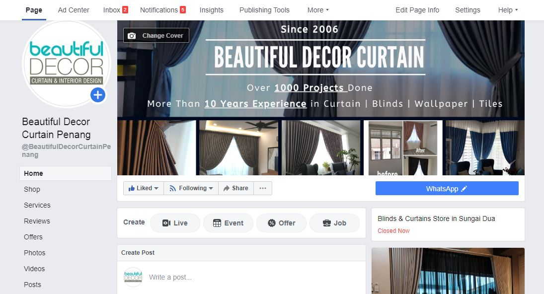 FB Marketing for B2C Curtain Design
