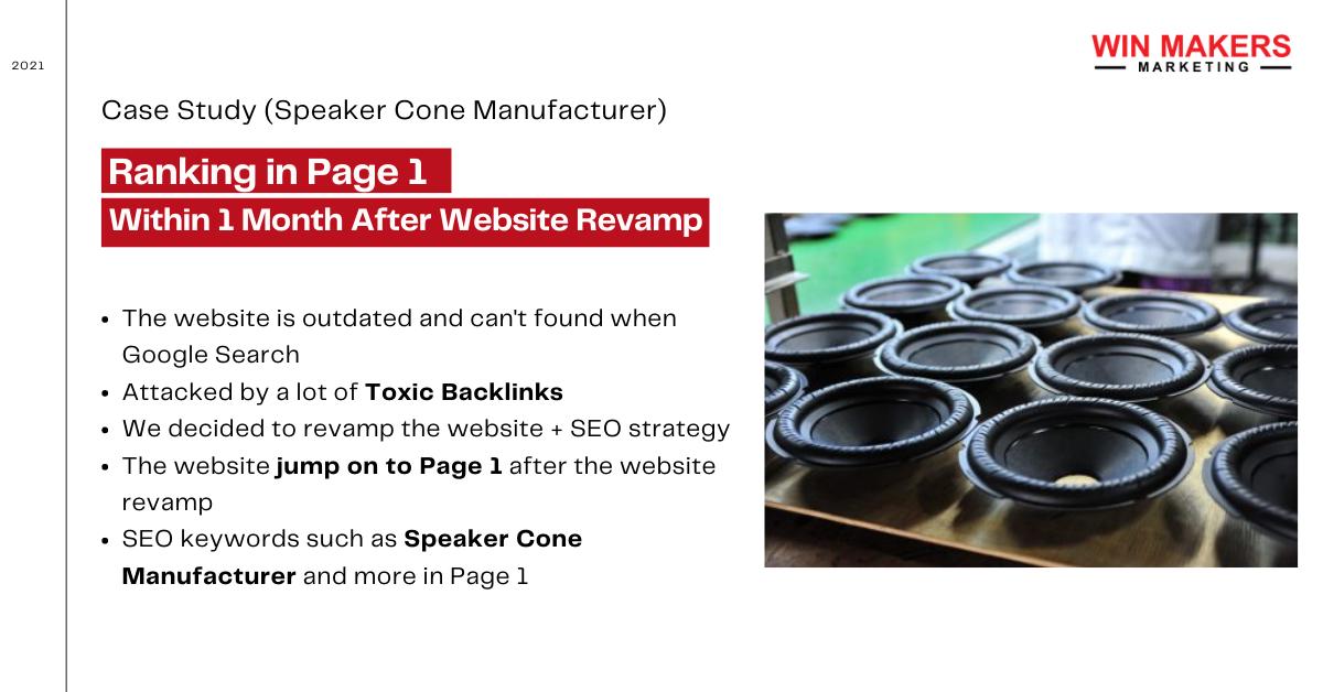 SEO case study speaker cone